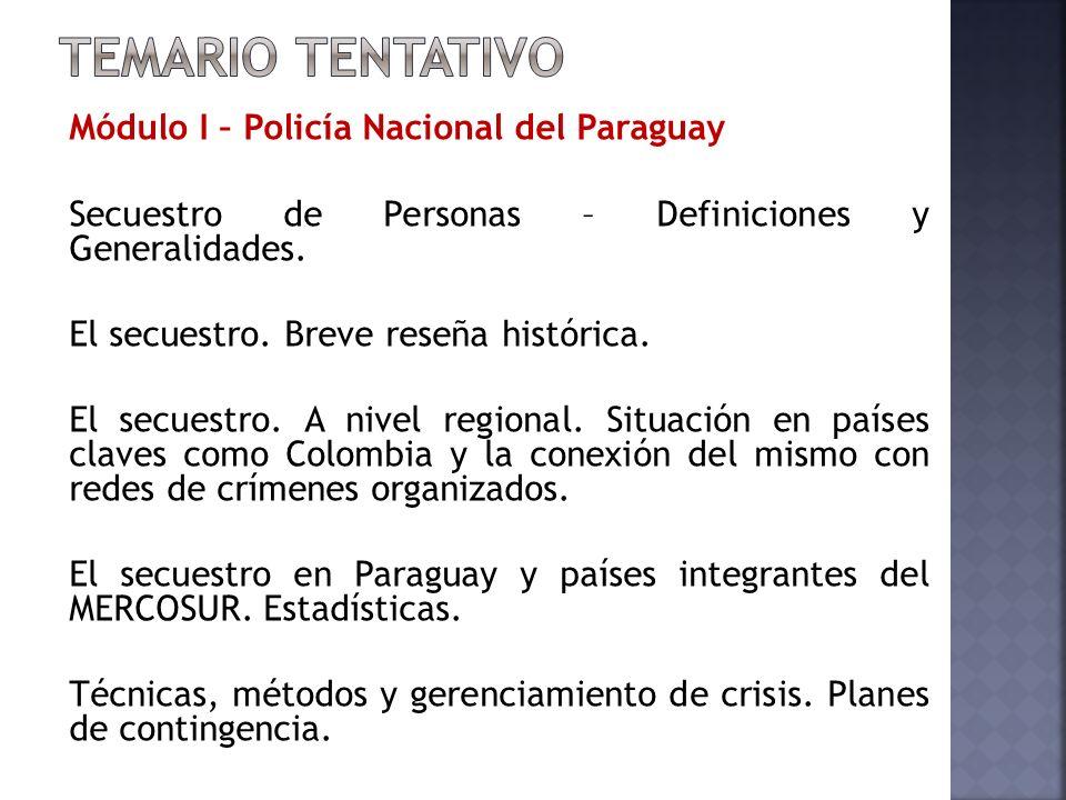Módulo I – Policía Nacional del Paraguay Secuestro de Personas – Definiciones y Generalidades.