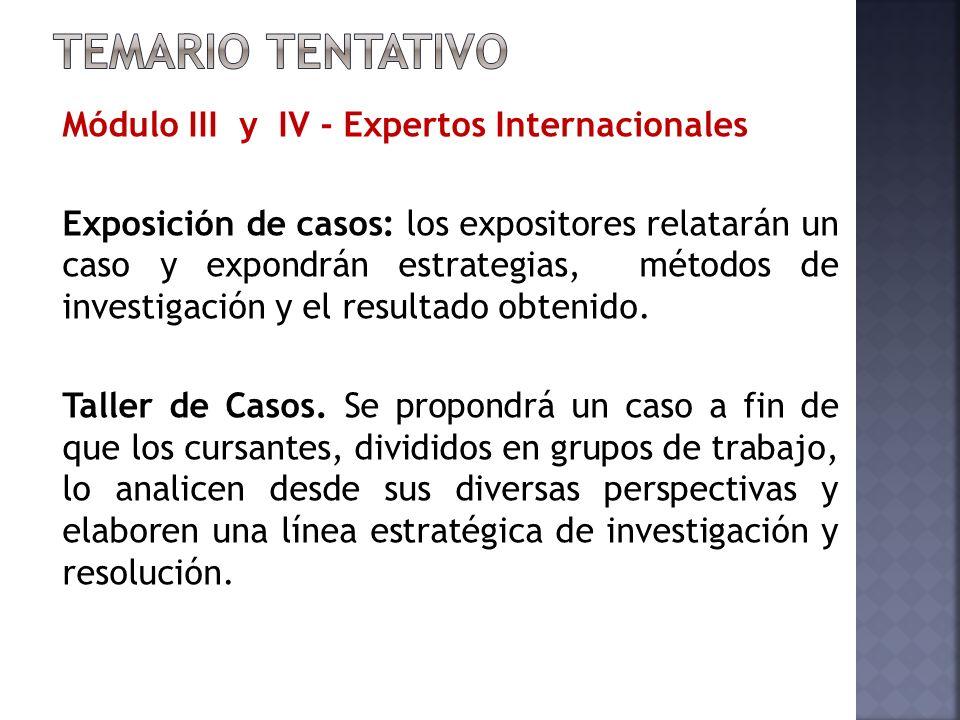 Módulo III y IV - Expertos Internacionales Exposición de casos: los expositores relatarán un caso y expondrán estrategias, métodos de investigación y el resultado obtenido.