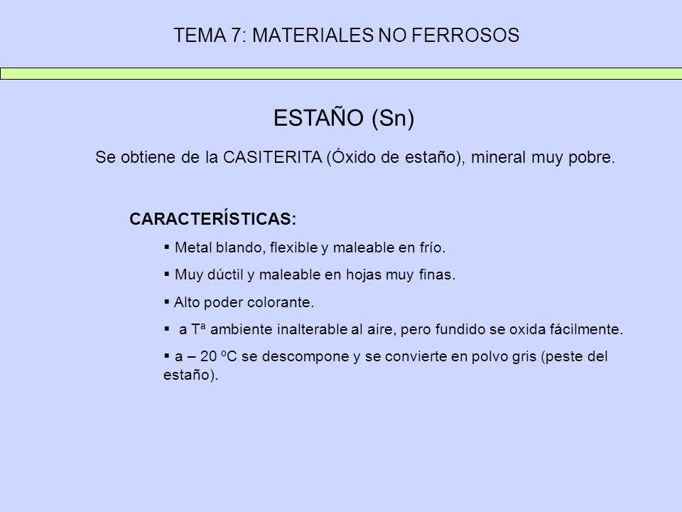 TEMA 7: MATERIALES NO FERROSOS ESTAÑO (Sn) Se obtiene de la CASITERITA (Óxido de estaño), mineral muy pobre. CARACTERÍSTICAS: Metal blando, flexible y
