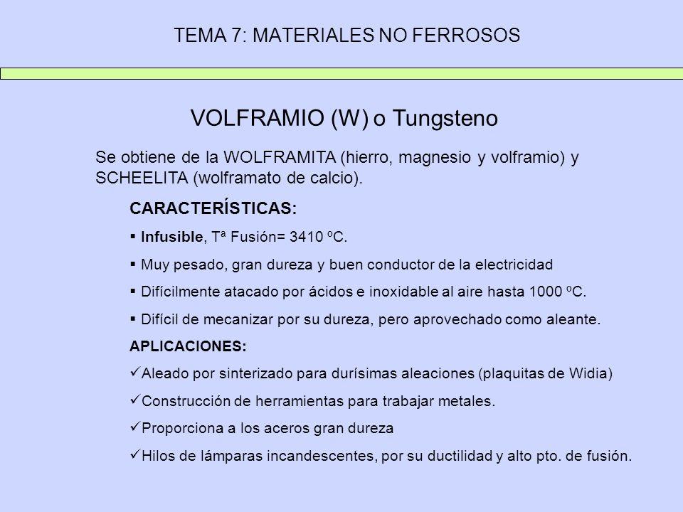TEMA 7: MATERIALES NO FERROSOS VOLFRAMIO (W) o Tungsteno Se obtiene de la WOLFRAMITA (hierro, magnesio y volframio) y SCHEELITA (wolframato de calcio)