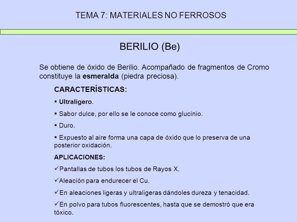 TEMA 7: MATERIALES NO FERROSOS BERILIO (Be) Se obtiene de óxido de Berilio. Acompañado de fragmentos de Cromo constituye la esmeralda (piedra preciosa