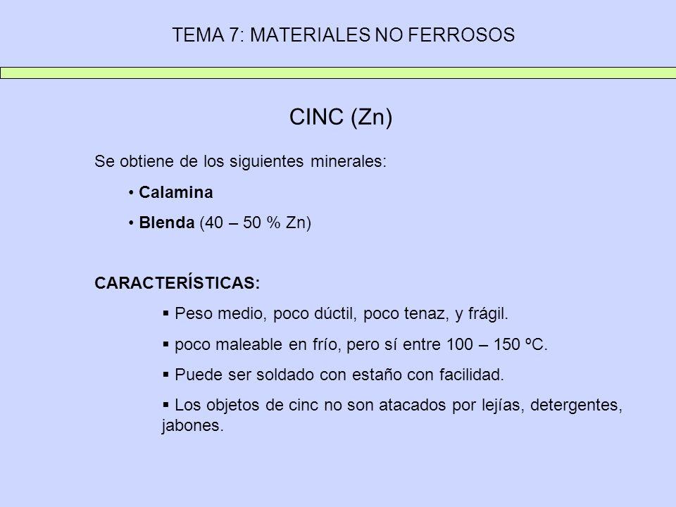 TEMA 7: MATERIALES NO FERROSOS CINC (Zn) Se obtiene de los siguientes minerales: Calamina Blenda (40 – 50 % Zn) CARACTERÍSTICAS: Peso medio, poco dúct