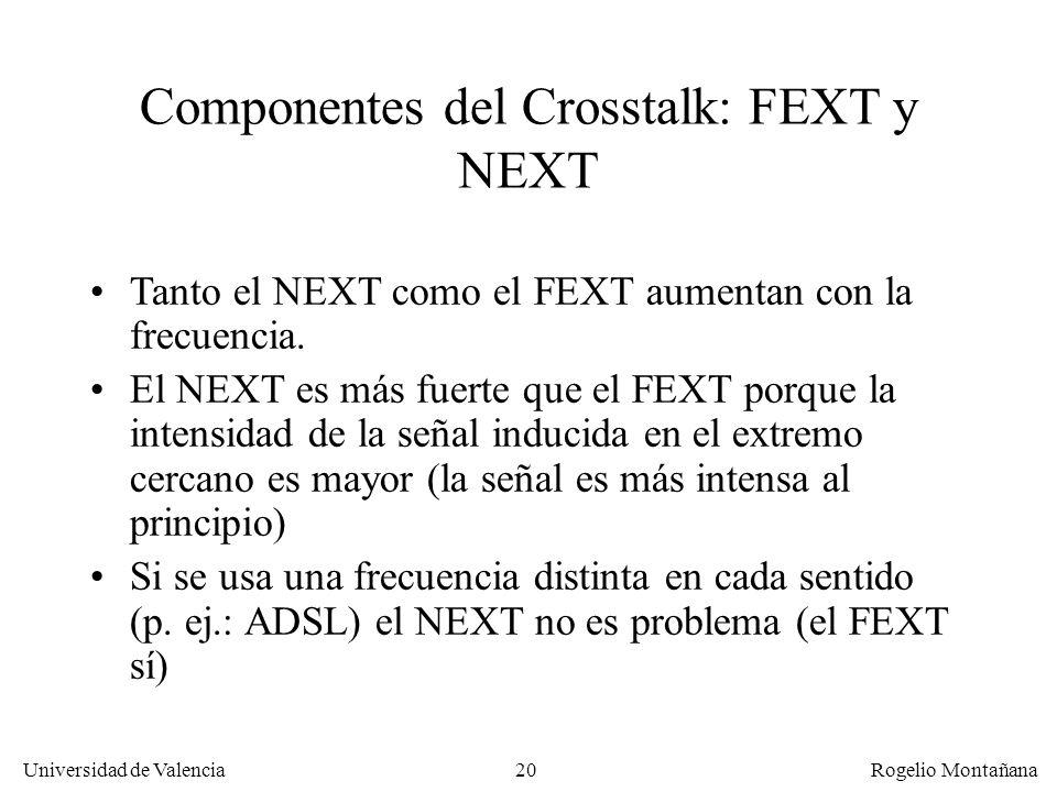 19 Universidad de Valencia Rogelio Montañana El FEXT lo produce la señal inducida que es percibida en el lado receptor. Es mas débil que el NEXT FEXT