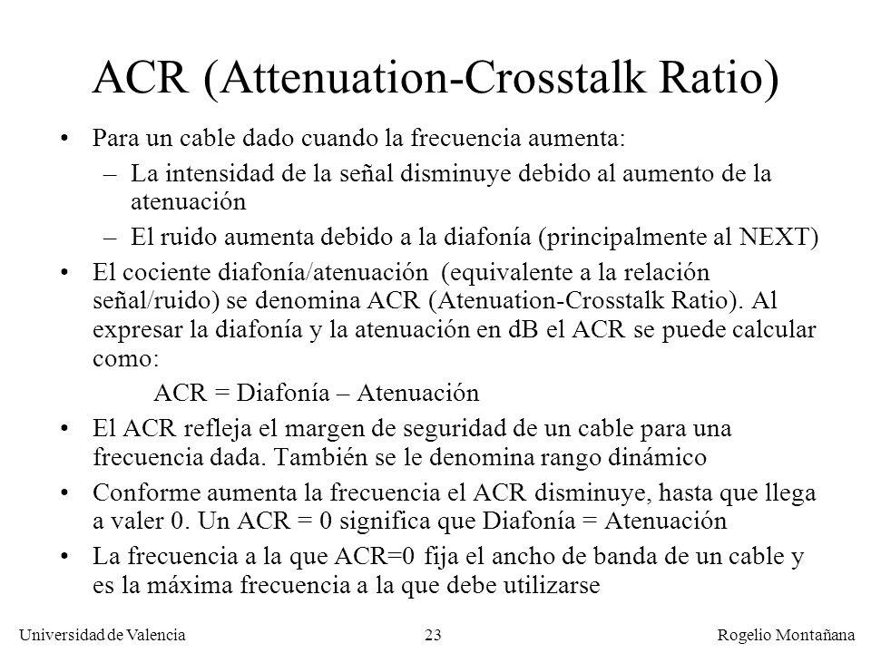 22 Universidad de Valencia Rogelio Montañana Transmit (salida) Receive (entrada) Ordenador Transmit (salida) Receive (entrada) Conmutador LAN Señal (d