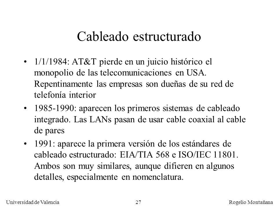 26 Universidad de Valencia Rogelio Montañana 10 20 30 50 40 70 60 0 0 50100 150 200 Frecuencia (MHz) dB Atenuación Cat. 6 Atenuación Cat. 5 Diafonía C