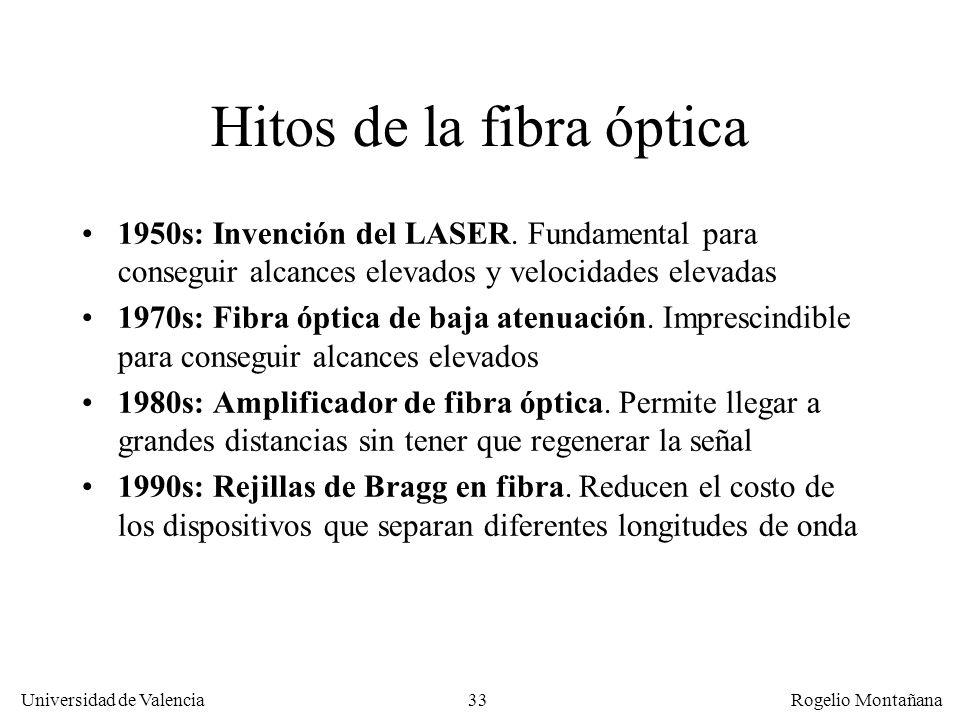 32 Universidad de Valencia Rogelio Montañana Sumario Generalidades Cables de cobre Fibra óptica