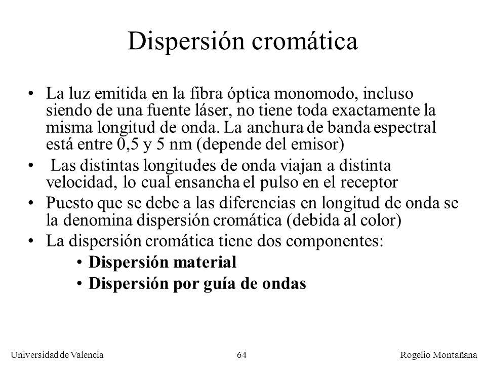 63 Universidad de Valencia Rogelio Montañana Factores que limitan el rendimiento de la F.O. monomodo Atenuación. Pérdida de intensidad de la señal con