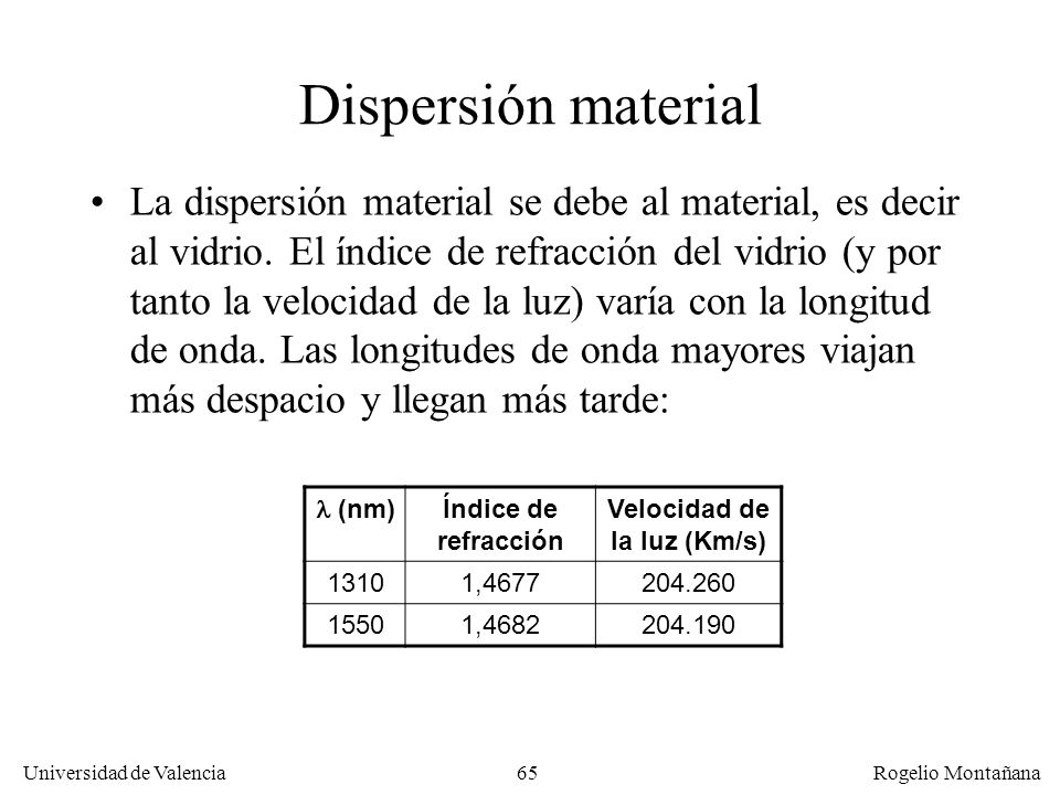 64 Universidad de Valencia Rogelio Montañana Dispersión cromática La luz emitida en la fibra óptica monomodo, incluso siendo de una fuente láser, no t
