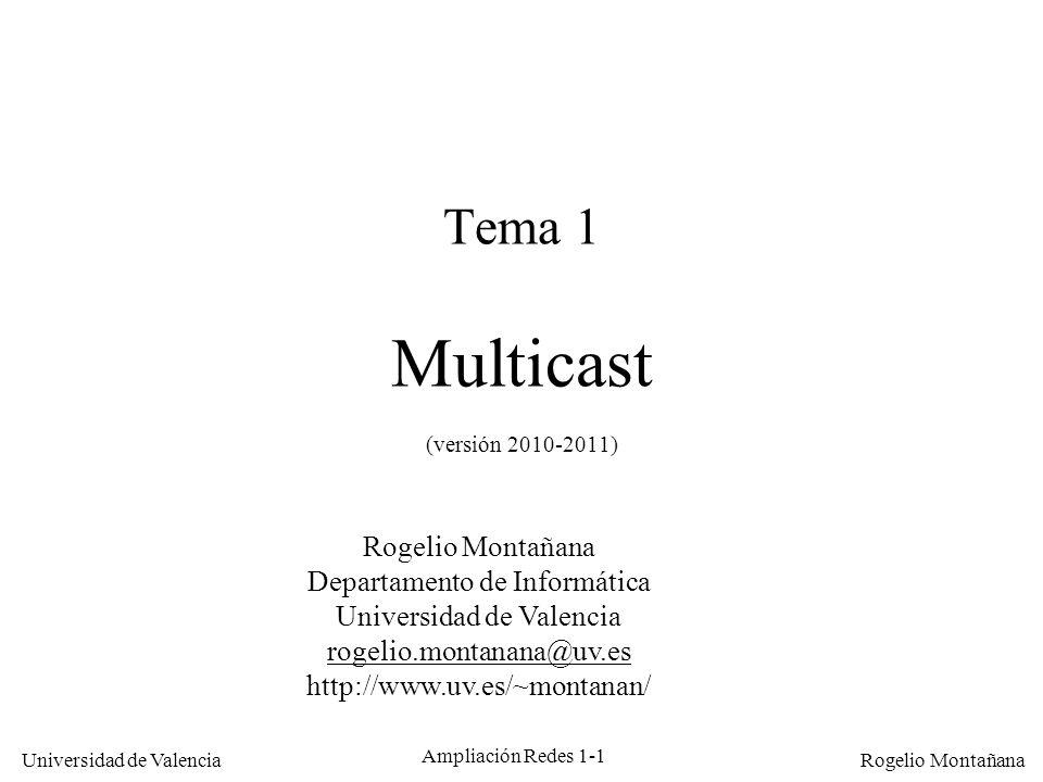 Universidad de Valencia Rogelio Montañana Ampliación Redes 1-12 Resolución direcciones multicast IP-Ethernet 1110 xxxx xabcdefg hijklmno pqrstuvw Dirección IP multicast: 0000000100000000010111100abcdefghijklmnopqrstuvw 01005E Dirección MAC: Correspondencia no biunívoca: Bits ignorados Binario Hexadecimal Bits mapeados (23) 224.0.0.1 224.128.0.1 225.0.0.1 225.128.0.1.