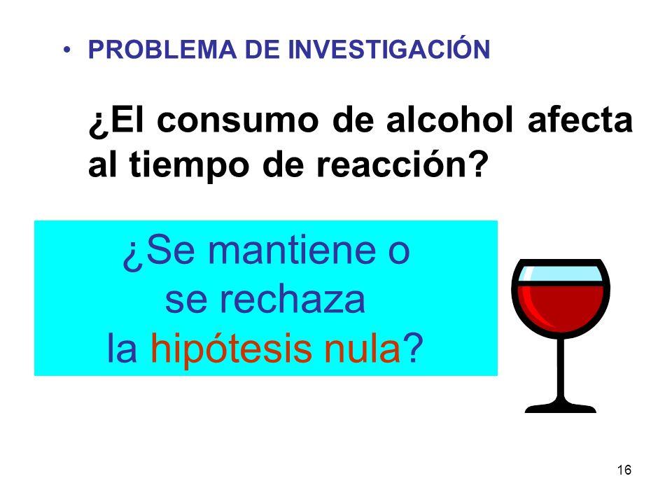 16 PROBLEMA DE INVESTIGACIÓN ¿El consumo de alcohol afecta al tiempo de reacción? ¿Se mantiene o se rechaza la hipótesis nula?