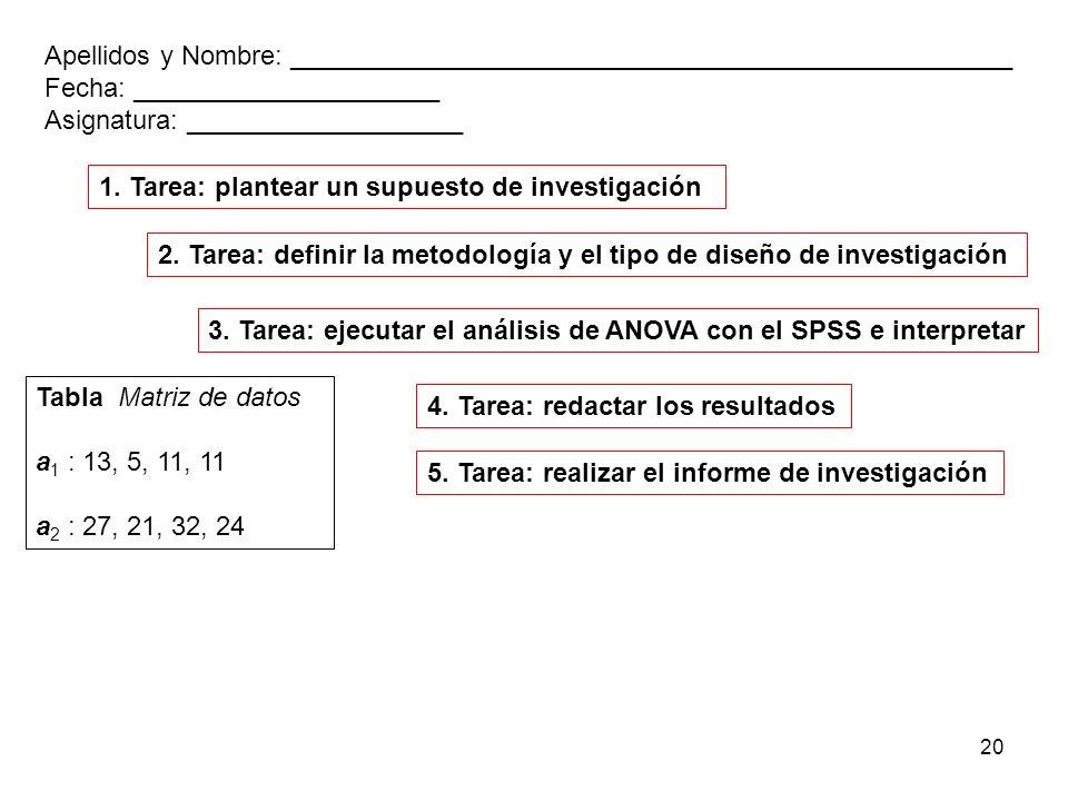 20 3. Tarea: ejecutar el análisis de ANOVA con el SPSS e interpretar 5. Tarea: realizar el informe de investigación Tabla Matriz de datos a 1 : 13, 5,