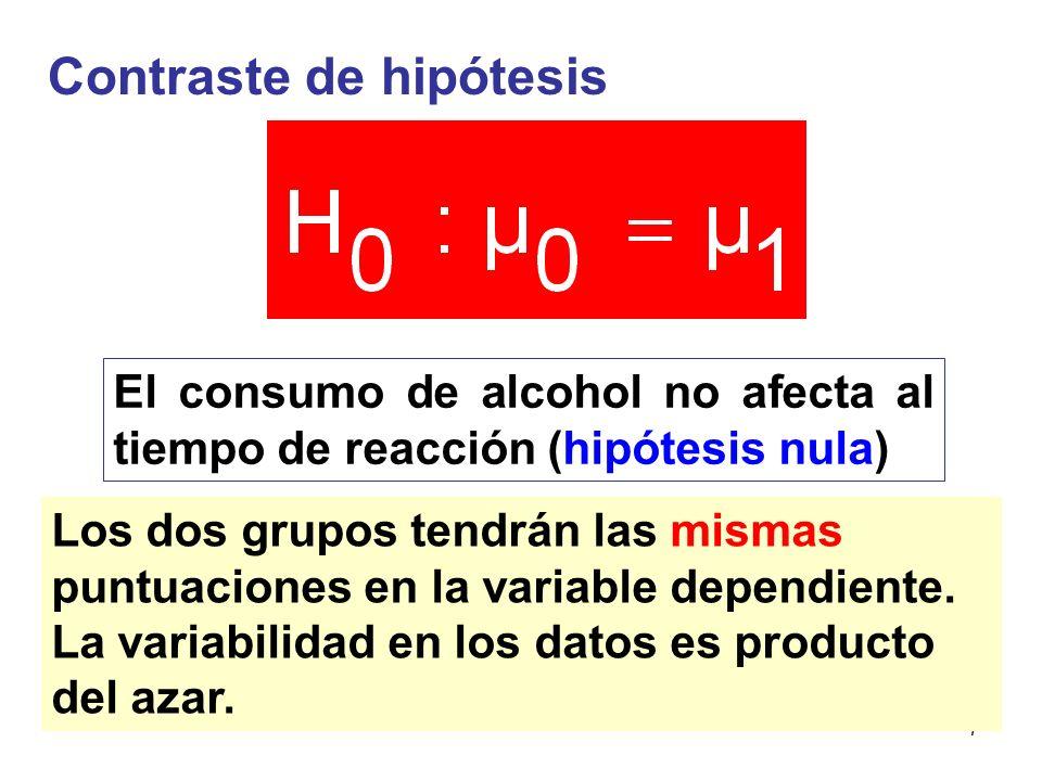 7 Contraste de hipótesis El consumo de alcohol no afecta al tiempo de reacción (hipótesis nula) Los dos grupos tendrán las mismas puntuaciones en la v