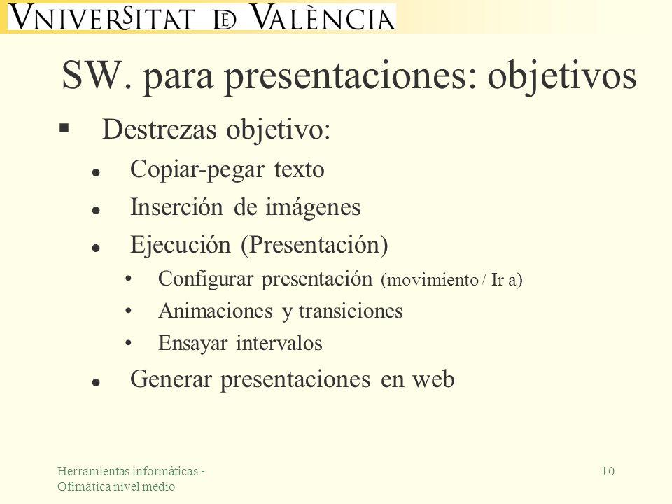 Herramientas informáticas - Ofimática nivel medio 10 SW. para presentaciones: objetivos Destrezas objetivo: l Copiar-pegar texto l Inserción de imágen