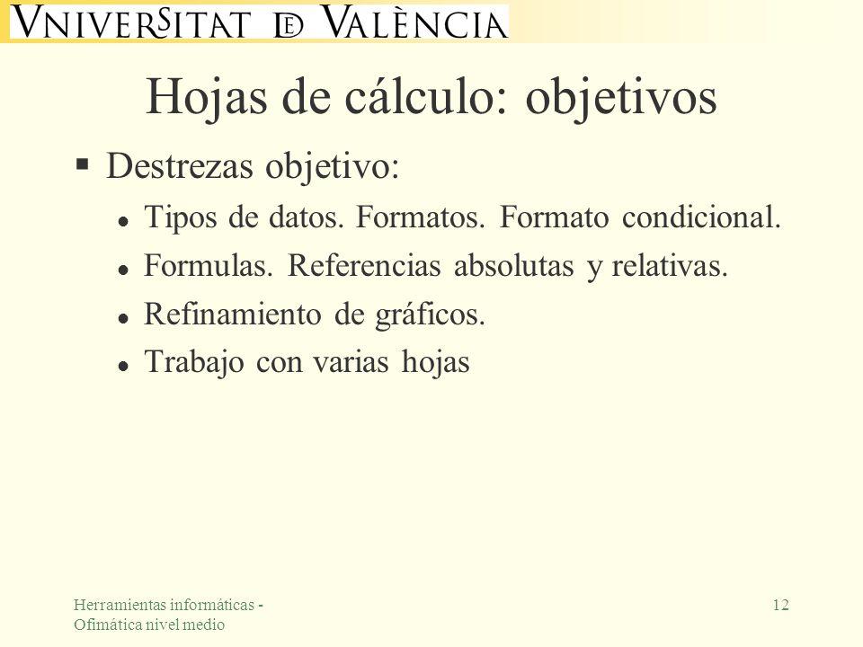 Herramientas informáticas - Ofimática nivel medio 12 Hojas de cálculo: objetivos Destrezas objetivo: l Tipos de datos. Formatos. Formato condicional.