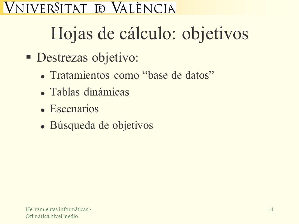 Herramientas informáticas - Ofimática nivel medio 14 Hojas de cálculo: objetivos Destrezas objetivo: l Tratamientos como base de datos l Tablas dinámi