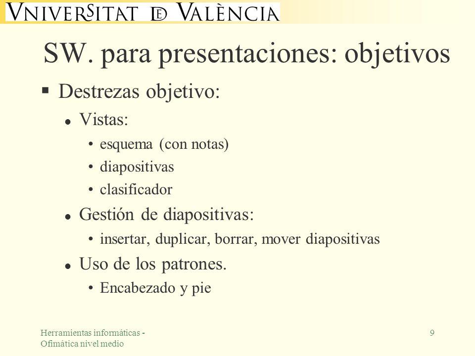 Herramientas informáticas - Ofimática nivel medio 9 SW. para presentaciones: objetivos Destrezas objetivo: l Vistas: esquema (con notas) diapositivas