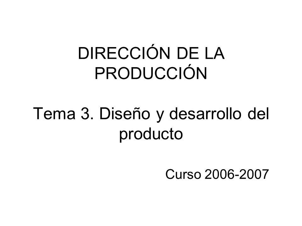DIRECCIÓN DE LA PRODUCCIÓN Tema 3. Diseño y desarrollo del producto Curso 2006-2007