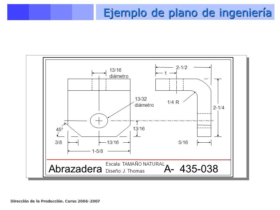 Dirección de la Producción. Curso 2006-2007 1-5/8 13/163/8 13/16 diámetro 13/32 diámetro 1/4 R 1 2-1/2 5/16 2-1/4 45° Abrazadera Escala: TAMAÑO NATURA