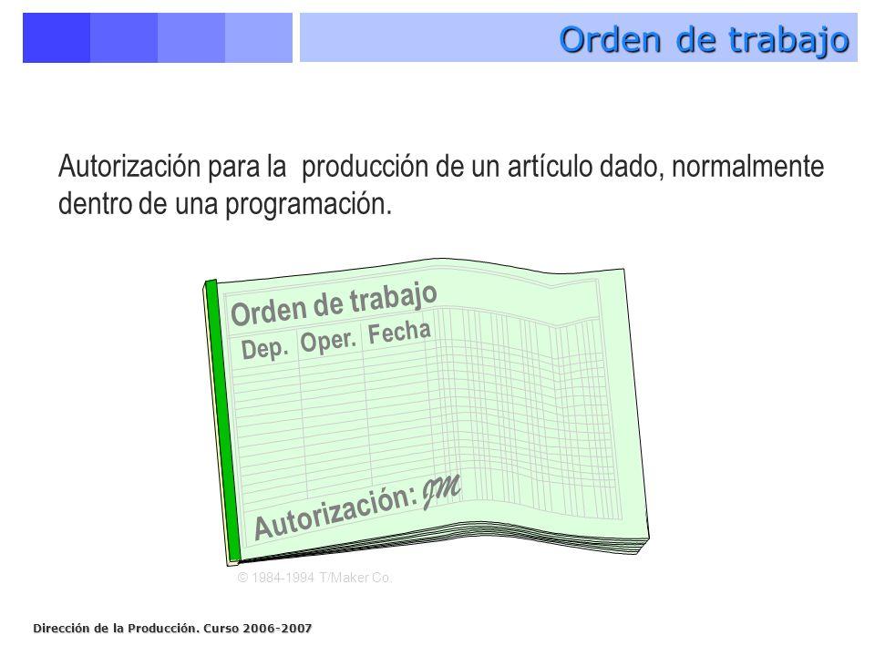 Dirección de la Producción. Curso 2006-2007 Orden de trabajo Dep. Oper. Fecha Autorización: JM Orden de trabajo © 1984-1994 T/Maker Co. Autorización p
