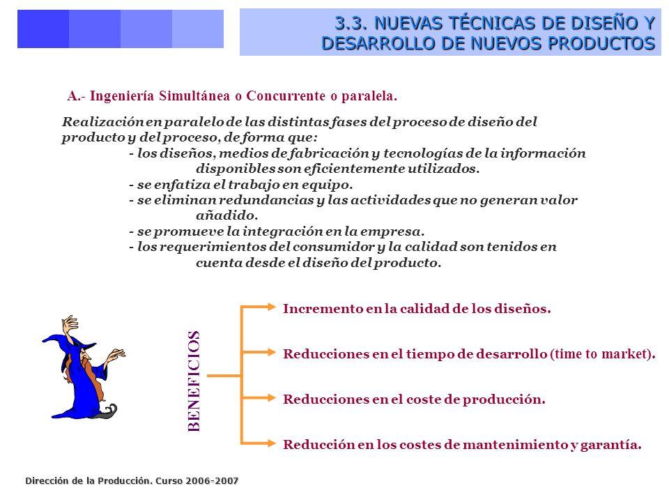 Dirección de la Producción. Curso 2006-2007 3.3. NUEVAS TÉCNICAS DE DISEÑO Y DESARROLLO DE NUEVOS PRODUCTOS 3.3. NUEVAS TÉCNICAS DE DISEÑO Y DESARROLL