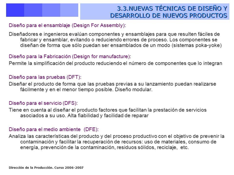 Dirección de la Producción. Curso 2006-2007 Diseño para el ensamblaje (Design For Assembly): Diseñadores e ingenieros evalúan componentes y ensamblaje