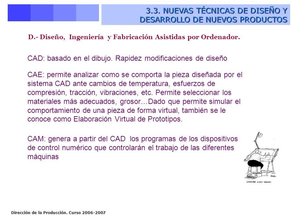 Dirección de la Producción. Curso 2006-2007 D.- Diseño, Ingeniería y Fabricación Asistidas por Ordenador. CAD: basado en el dibujo. Rapidez modificaci