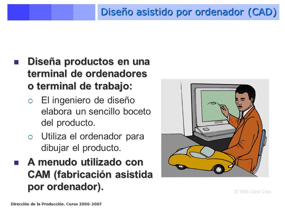 Dirección de la Producción. Curso 2006-2007 Diseña productos en una terminal de ordenadores o terminal de trabajo: Diseña productos en una terminal de