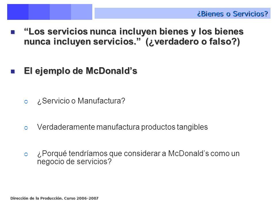 Dirección de la Producción. Curso 2006-2007 ¿Bienes o Servicios? Los servicios nunca incluyen bienes y los bienes nunca incluyen servicios. (¿verdader