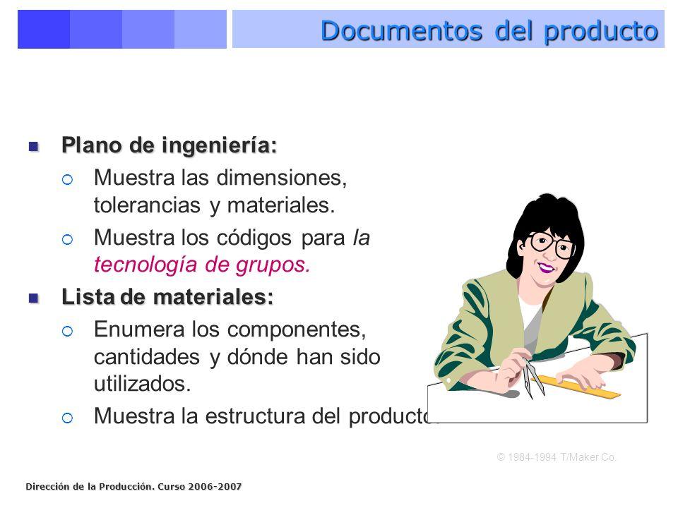 Dirección de la Producción. Curso 2006-2007 Plano de ingeniería: Plano de ingeniería: Muestra las dimensiones, tolerancias y materiales. Muestra los c