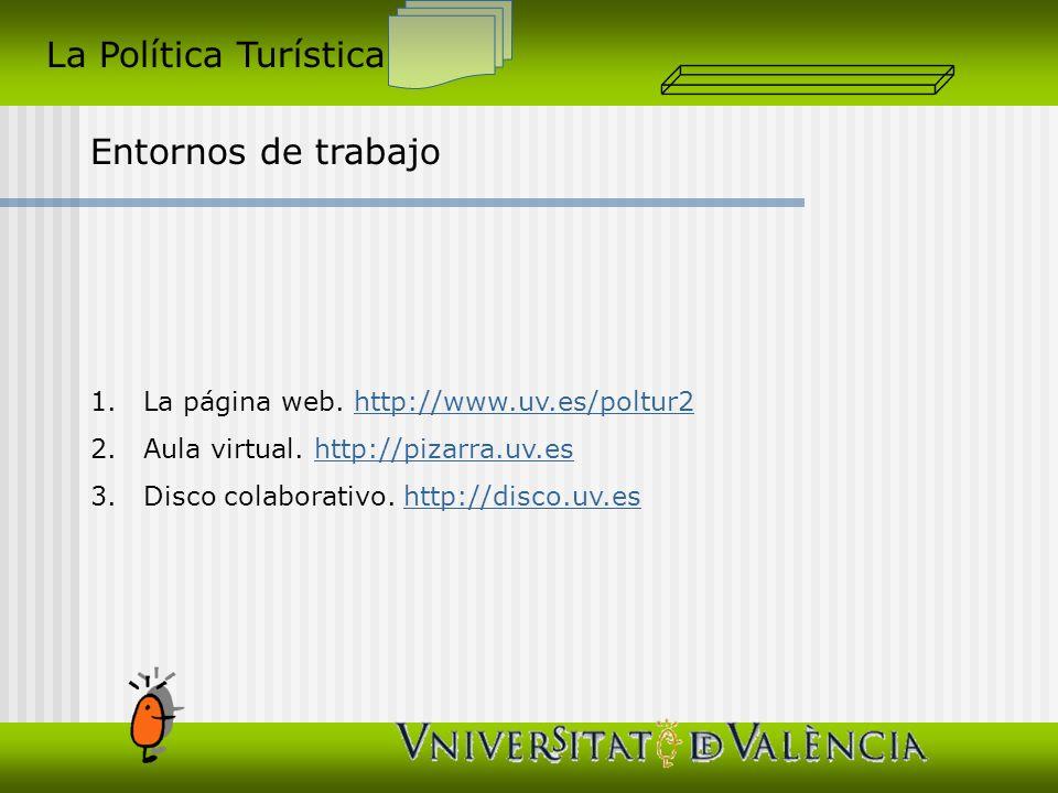 La Política Turística Entornos de trabajo 1.La página web. http://www.uv.es/poltur2http://www.uv.es/poltur2 2.Aula virtual. http://pizarra.uv.eshttp:/