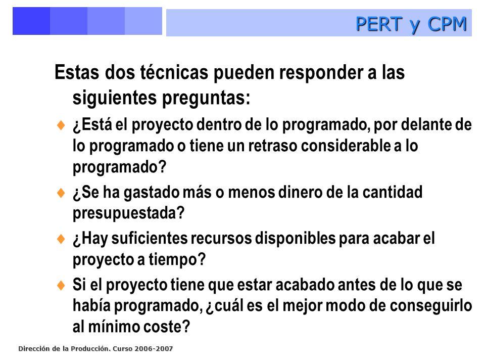 Dirección de la Producción. Curso 2006-2007 Estas dos técnicas pueden responder a las siguientes preguntas: ¿Está el proyecto dentro de lo programado,