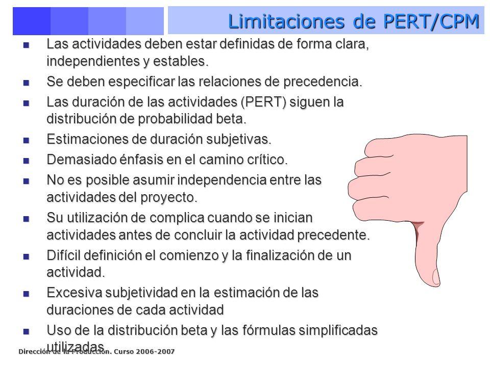 Dirección de la Producción. Curso 2006-2007 Las actividades deben estar definidas de forma clara, independientes y estables. Las actividades deben est