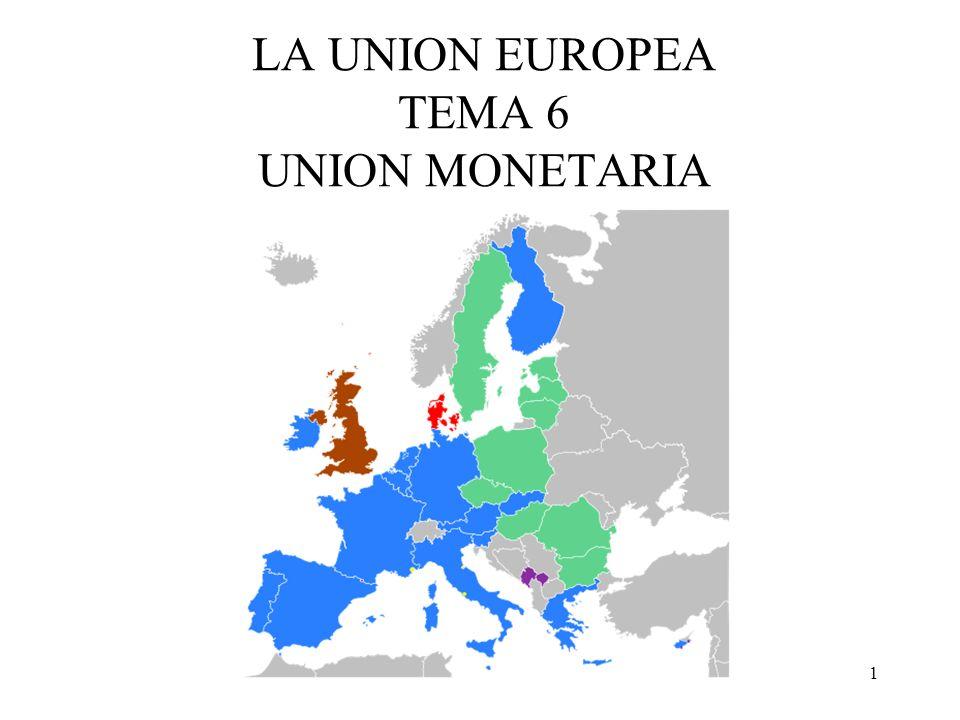 2 Debates interesante y (muy actual) sobre Uniones Monetarias Óptimas Tipo de cambio fijo vs tipo de cambio flexible Unión monetaria incompleta (SME) vs UM completa (Zona Euro) Enfoque de choque (Unificación alemana) o proceso gradual (Zona Euro)