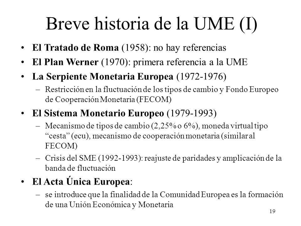 19 Breve historia de la UME (I) El Tratado de Roma (1958): no hay referencias El Plan Werner (1970): primera referencia a la UME La Serpiente Monetari