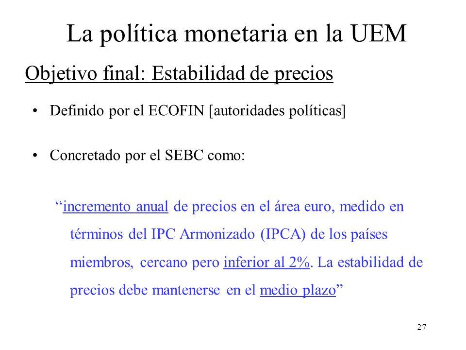 27 Objetivo final: Estabilidad de precios Definido por el ECOFIN [autoridades políticas] Concretado por el SEBC como: incremento anual de precios en e