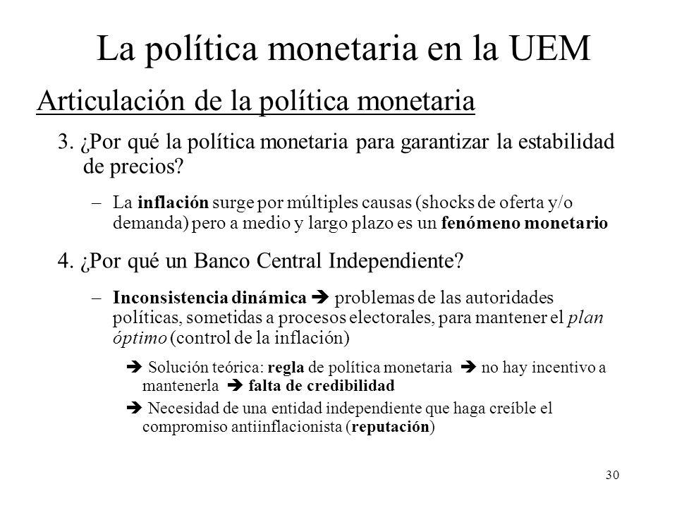30 Articulación de la política monetaria 3. ¿Por qué la política monetaria para garantizar la estabilidad de precios? –La inflación surge por múltiple