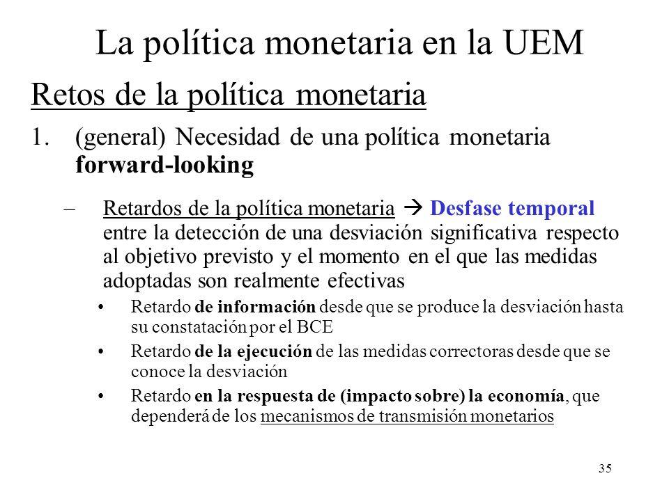 35 1.(general) Necesidad de una política monetaria forward-looking –Retardos de la política monetaria Desfase temporal entre la detección de una desvi