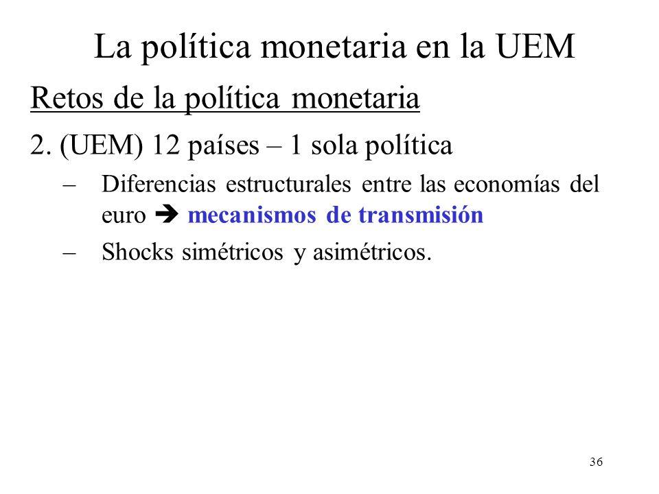 36 2. (UEM) 12 países – 1 sola política –Diferencias estructurales entre las economías del euro mecanismos de transmisión –Shocks simétricos y asimétr