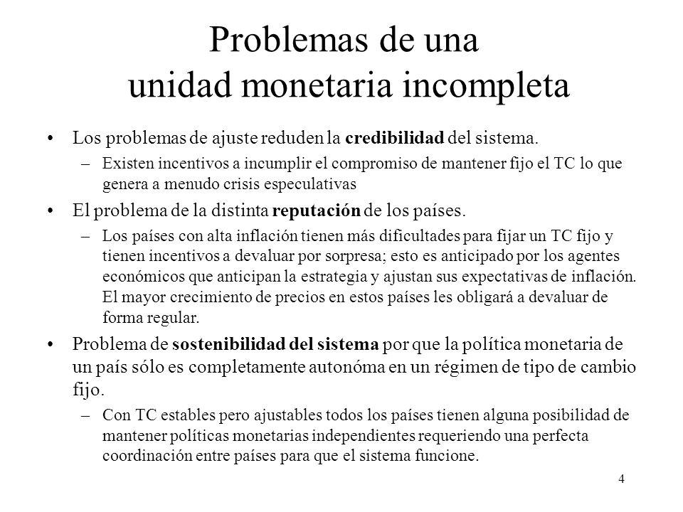 4 Problemas de una unidad monetaria incompleta Los problemas de ajuste reduden la credibilidad del sistema. –Existen incentivos a incumplir el comprom
