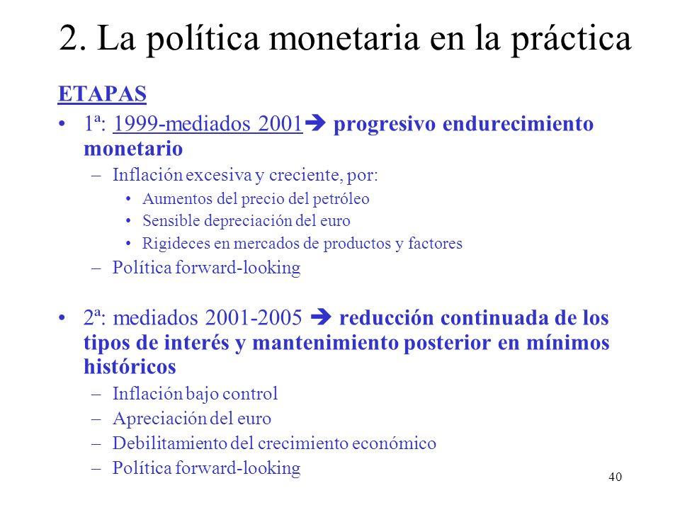 40 ETAPAS 1ª: 1999-mediados 2001 progresivo endurecimiento monetario –Inflación excesiva y creciente, por: Aumentos del precio del petróleo Sensible d