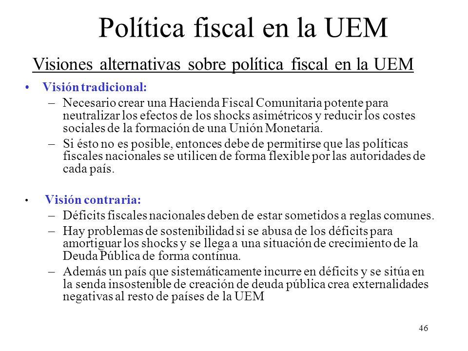 46 Visión tradicional: –Necesario crear una Hacienda Fiscal Comunitaria potente para neutralizar los efectos de los shocks asimétricos y reducir los c