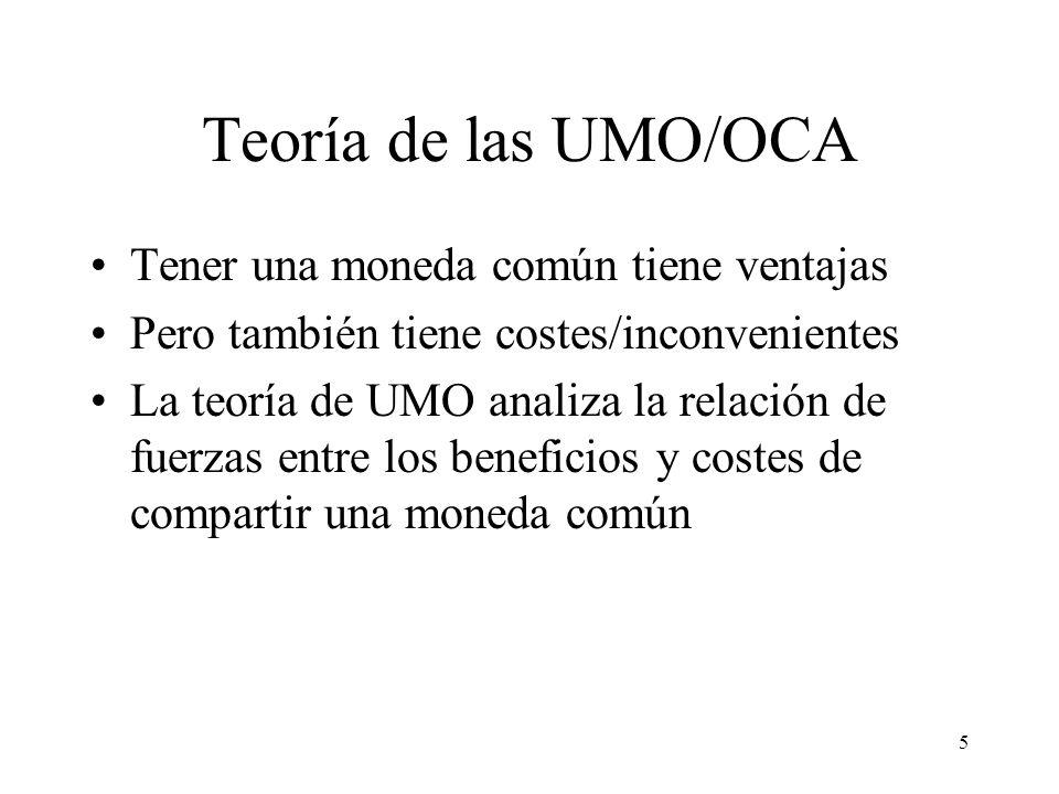 5 Teoría de las UMO/OCA Tener una moneda común tiene ventajas Pero también tiene costes/inconvenientes La teoría de UMO analiza la relación de fuerzas
