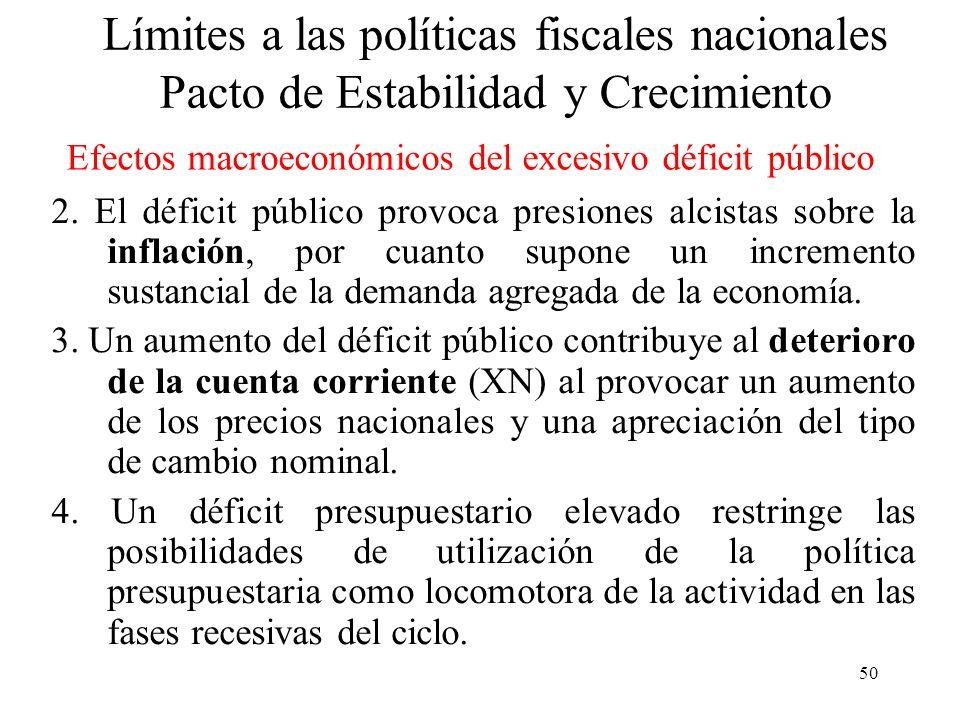 50 2. El déficit público provoca presiones alcistas sobre la inflación, por cuanto supone un incremento sustancial de la demanda agregada de la econom