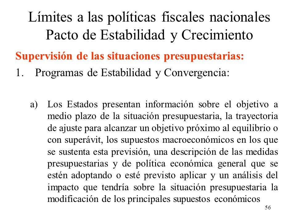 56 Límites a las políticas fiscales nacionales Pacto de Estabilidad y Crecimiento Supervisión de las situaciones presupuestarias: 1.Programas de Estab