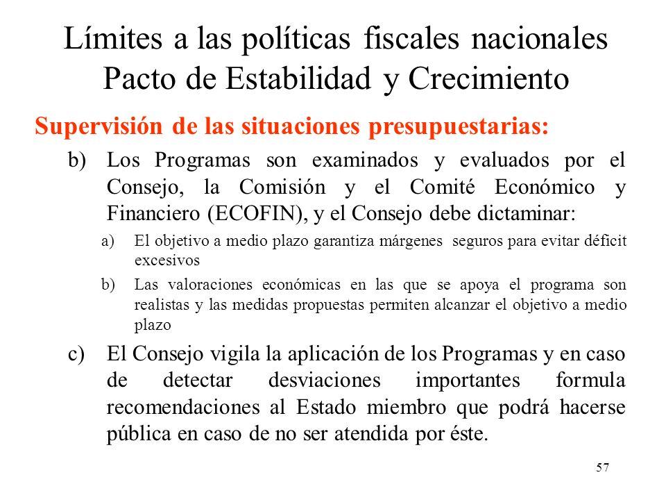 57 Límites a las políticas fiscales nacionales Pacto de Estabilidad y Crecimiento Supervisión de las situaciones presupuestarias: b)Los Programas son