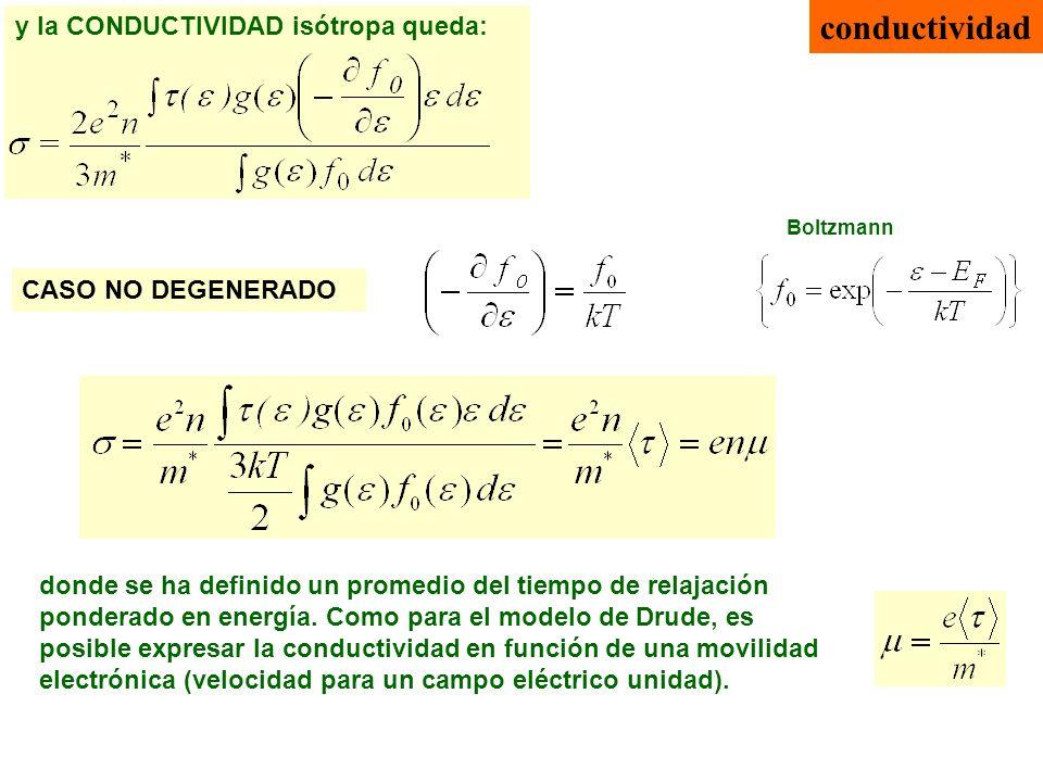 conductividad CASO NO DEGENERADO donde se ha definido un promedio del tiempo de relajación ponderado en energía. Como para el modelo de Drude, es posi