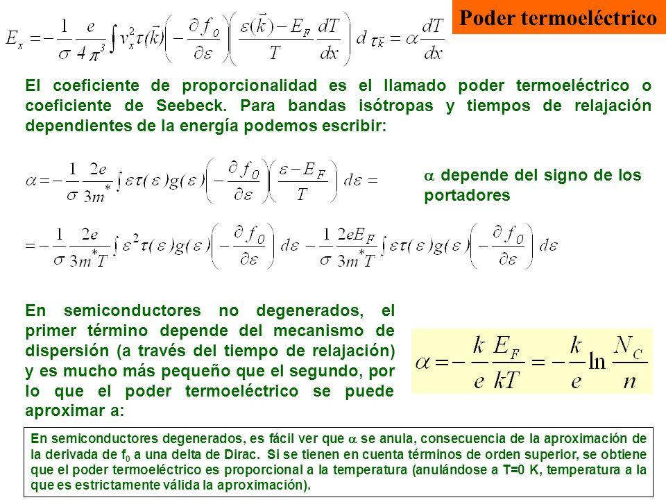 Poder termoeléctrico El coeficiente de proporcionalidad es el llamado poder termoeléctrico o coeficiente de Seebeck. Para bandas isótropas y tiempos d