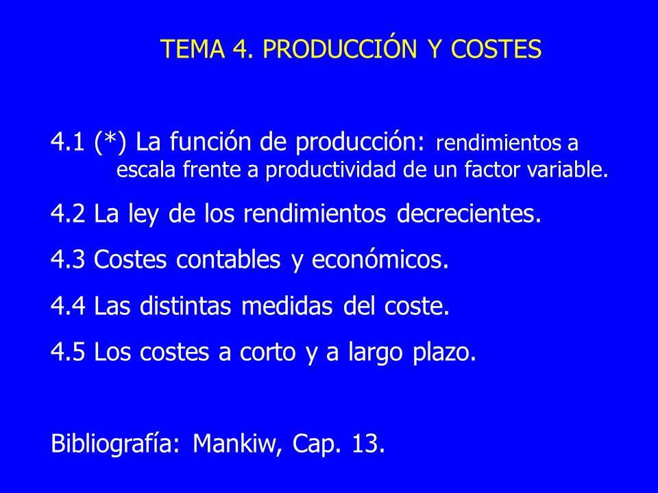 TEMA 4. PRODUCCIÓN Y COSTES 4.1 (*) La función de producción: rendimientos a escala frente a productividad de un factor variable. 4.2 La ley de los re