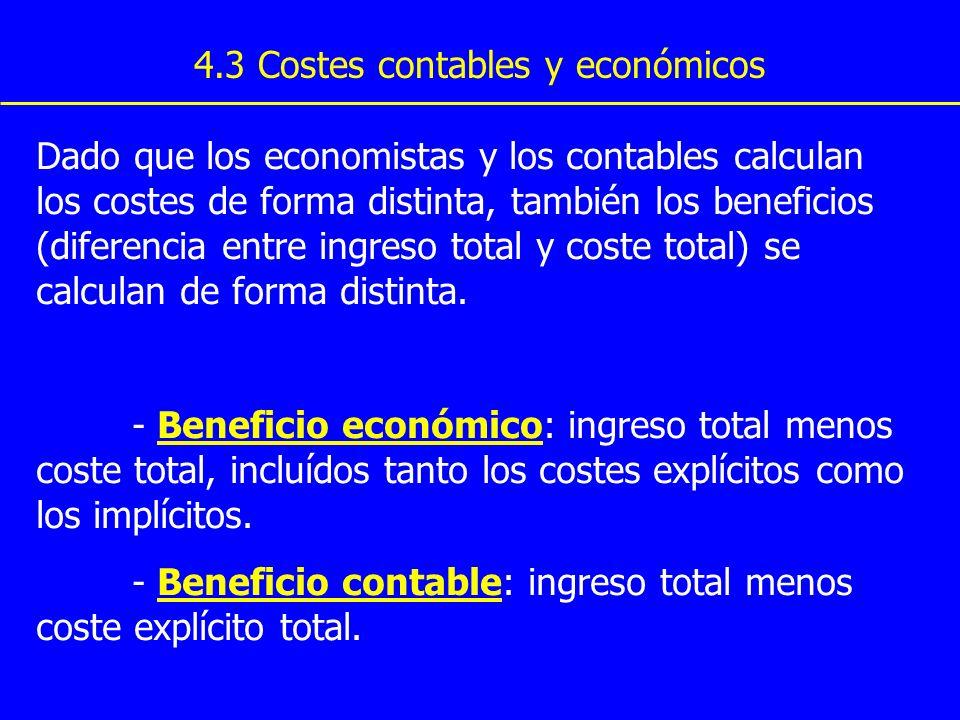 4.3 Costes contables y económicos Dado que los economistas y los contables calculan los costes de forma distinta, también los beneficios (diferencia e