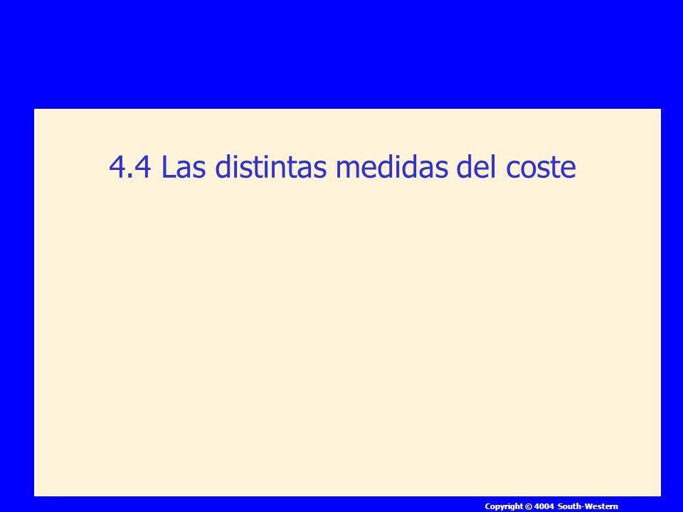 Copyright © 4004 South-Western 4.4 Las distintas medidas del coste